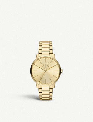 ARMANI EXCHANGE AX2707 Cayde yellow-gold PVD plated steel watch