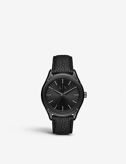 ARMANI EXCHANGE AX2805 Fitz PVD steel and leather watch