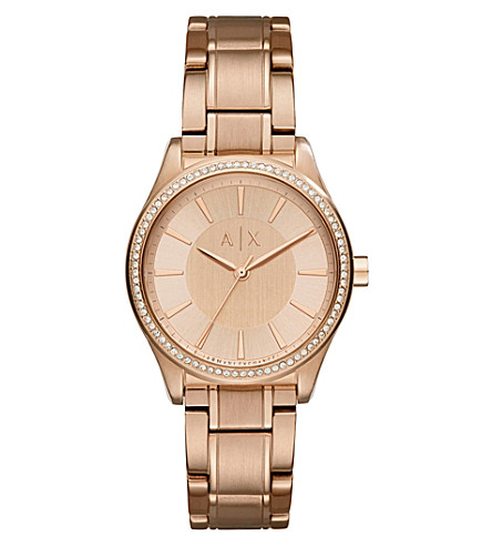 Armani Exchange AX5442 crystal-embellished rose-gold plated watch