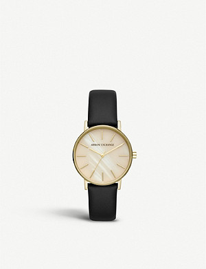 ARMANI EXCHANGE AX5561 Lola gold-plated and leather watch
