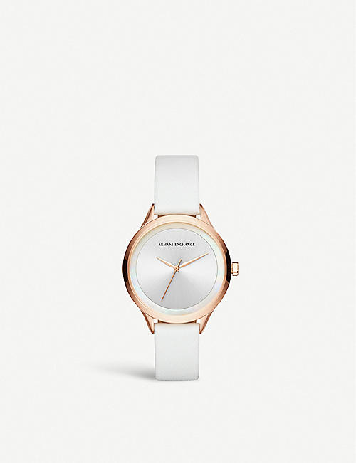 ARMANI EXCHANGE AX5604 Harper rose-gold plated stainless steel and leather watch