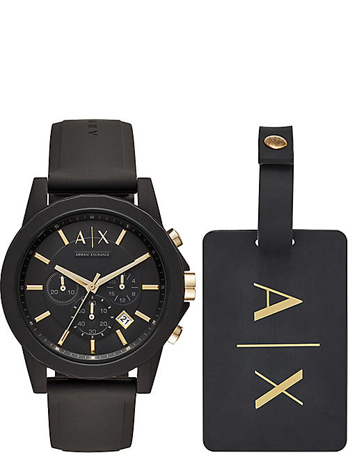 ARMANI EXCHANGE AX7105 Outerbanks watch and luggage tag set