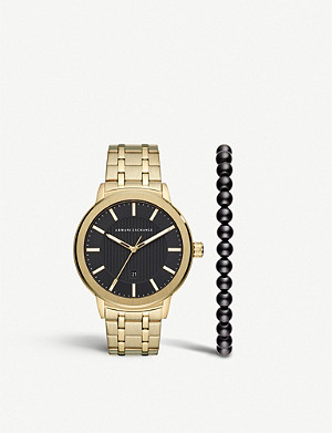 ARMANI EXCHANGE AX7108 Street yellow-gold plated stainless steel and bracelet gift set