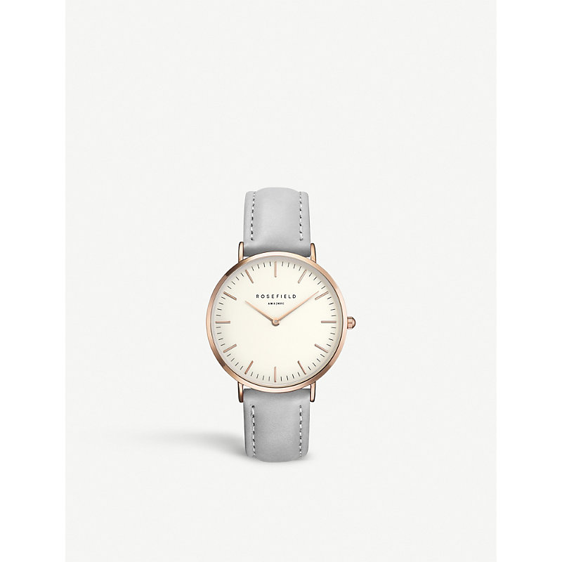 B-W-Gr-B9 The Bowery Stainless Steel Leather Strap Watch in Grey