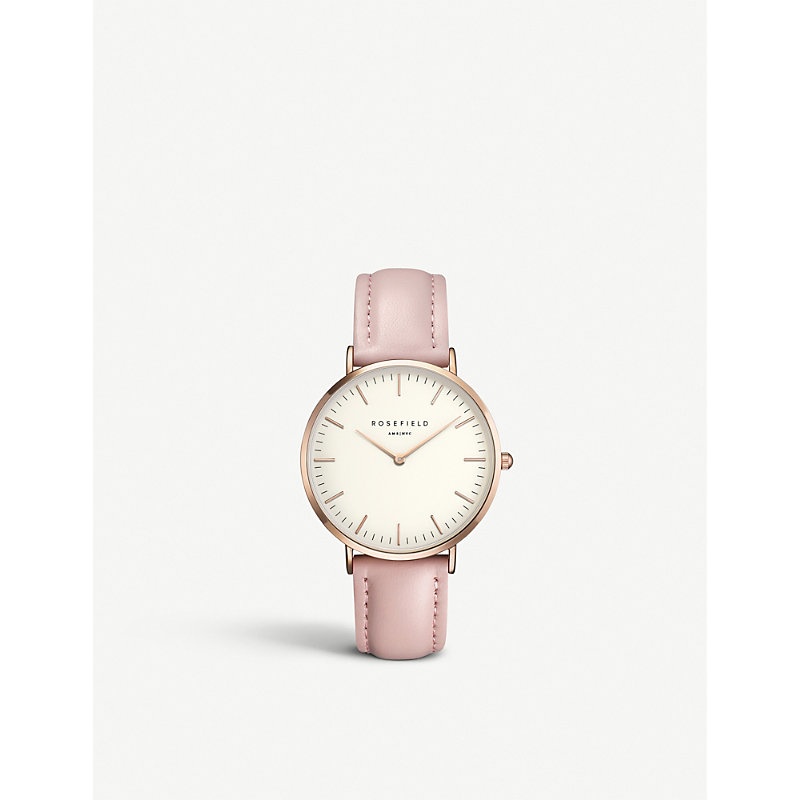 B-W-Pr-B7 The Bowery Stainless Steel Leather Strap Watch in Pink