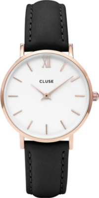 CLUSE CL30003 Minuit rose gold, stainless steel and leather watch