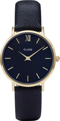 CLUSE CL30014 Minuit snake-effect leather and gold watch