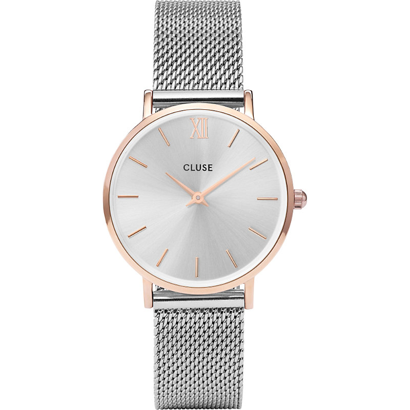 CLUSE Cl30025 Minuit Stainless Steel Mesh Watch in Silver/Gold
