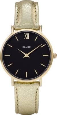 CLUSE CL30037 Minuit metallic-leather watch