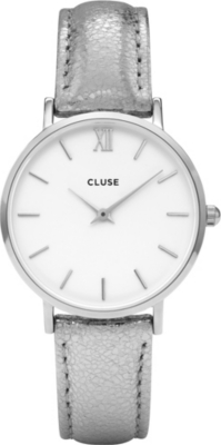 CLUSE CL30039 Minuit metallic-leather watch