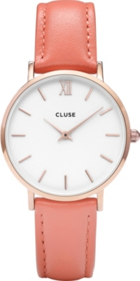 CLUSE CL30045 Minuit stainless steel and leather watch