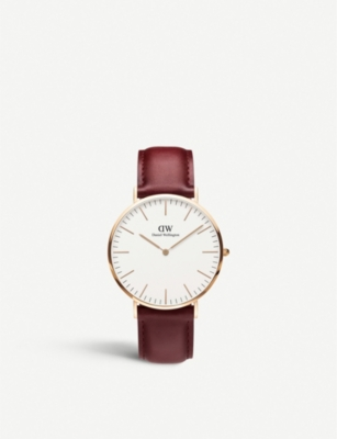 DANIEL WELLINGTON Classic Suffolk 40mm rose-gold and leather strap