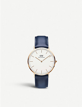 DANIEL WELLINGTON: Classic Somerset 40 rose-gold and leather strap