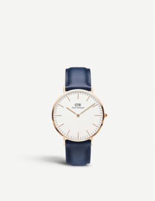 Classic Somerset 40 rose-gold and leather strap
