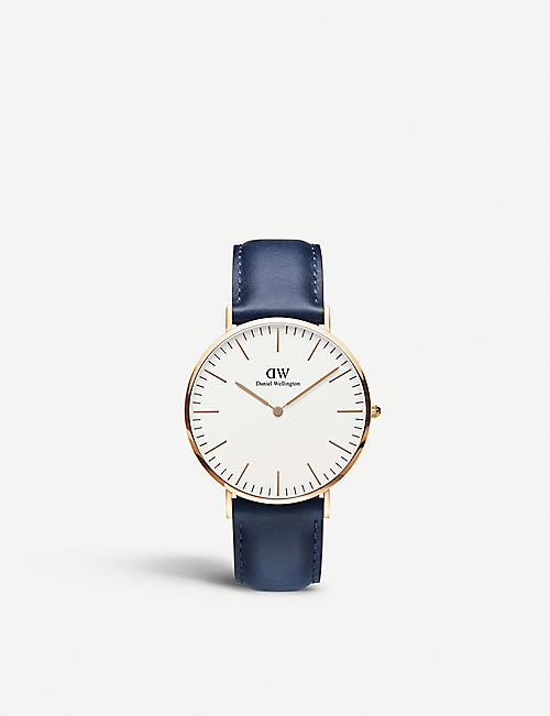 DANIEL WELLINGTON Classic Somerset 40 rose-gold and leather strap