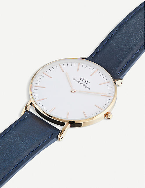 DANIEL WELLINGTON Classic Somerset rose-gold and leather watch