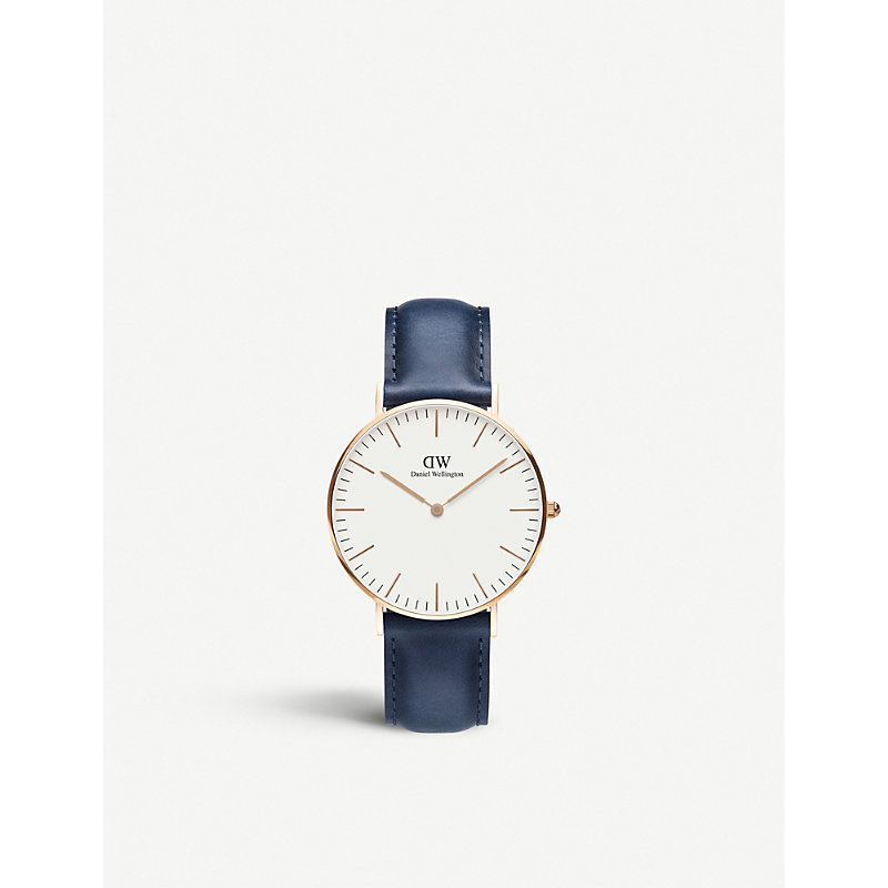 Classic Suffolk Rose-Gold And Leather Strap in Gold / Blue