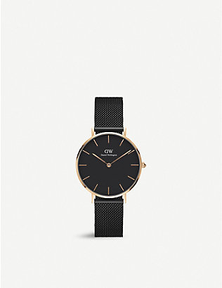 DANIEL WELLINGTON: DW00100201 Classic Petite Ashfield rose gold-plated watch