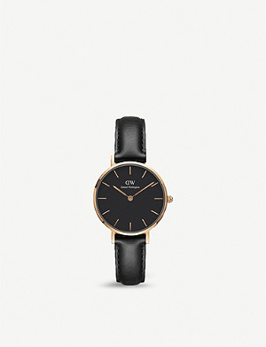DANIEL WELLINGTON DW00100224 Classic Petite Sheffield rose gold-plated and leather watch