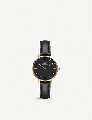 00f7309b82c6 DANIEL WELLINGTON DW00100224 Classic Petite Sheffield rose gold-plated and  leather watch