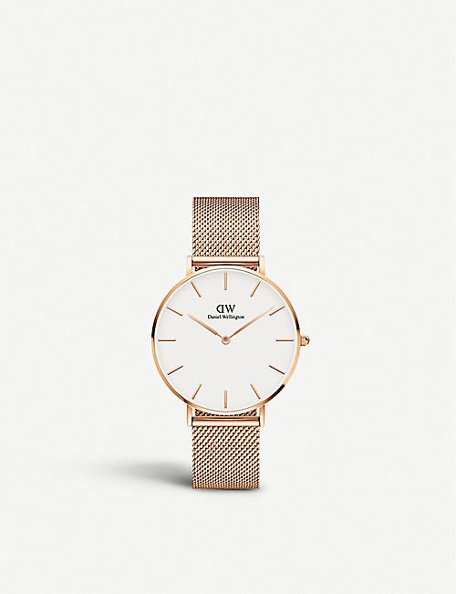 DANIEL WELLINGTON Classic Petite Melrose rose gold-toned steel and mesh watch