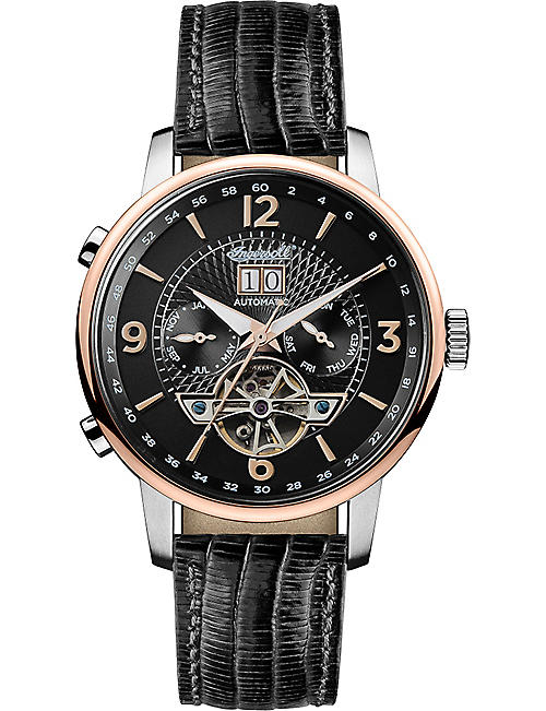 INGERSOLL Grafton Automatic black leather watch