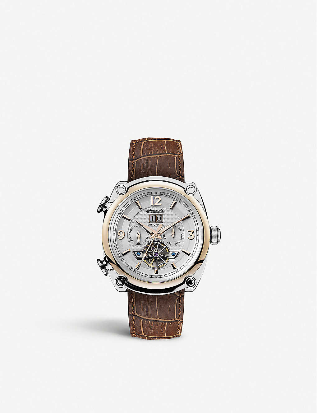 INGERSOLL: I01103 Michigan Automatic brown leather watch