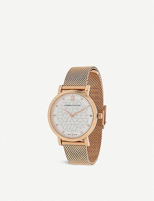 LARSSON & JENNINGS: LGN33CMRGCPPQPRGMOPO Bernadotte Lugano rose gold-plated stainless steel watch