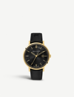 LARSSON & JENNINGS Opera yellow-gold plated and leather watch