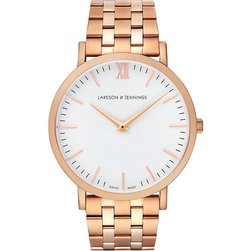LARSSON & JENNINGS | Lugano Vasa Rose-Gold-Plated Stainless Steel Bracelet Watch | Goxip