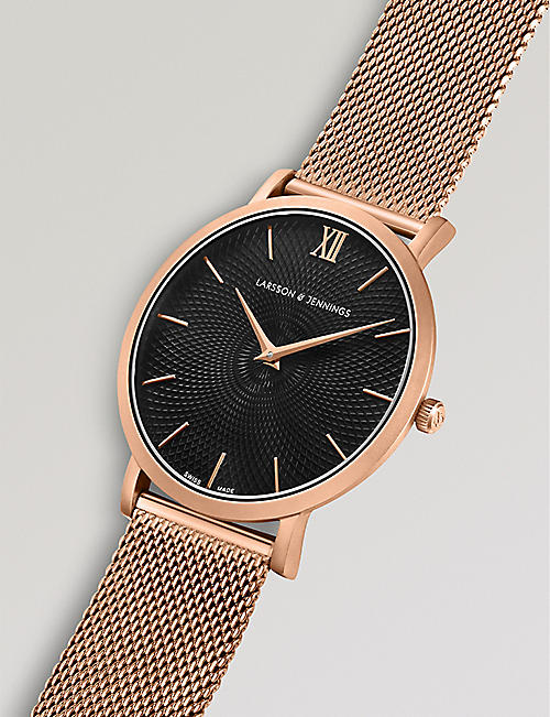 LARSSON & JENNINGS LGN40-CMRG-CG-Q-M-RGB-O Lugano Sloane 18ct rose gold-plated watch