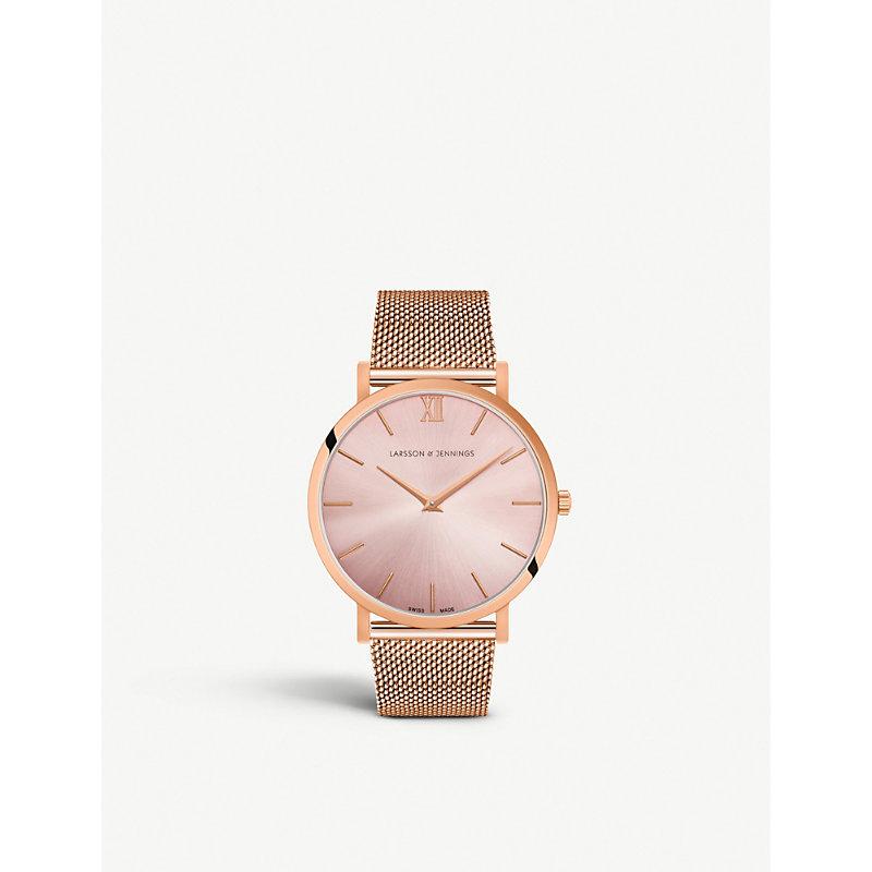 LARSSON & JENNINGS | Lugano Solaris Rose Gold-Plated Stainless Steel Watch | Goxip