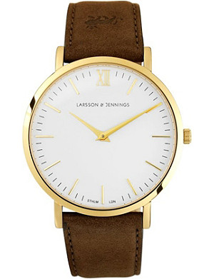LARSSON & JENNINGS Lader Brown gold-plated and leather watch