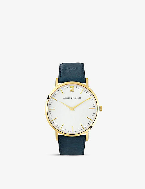 LARSSON & JENNINGS: LJ-W-LCYN-S-GW LJXII Lugano yellow-gold plated stainless steel watch