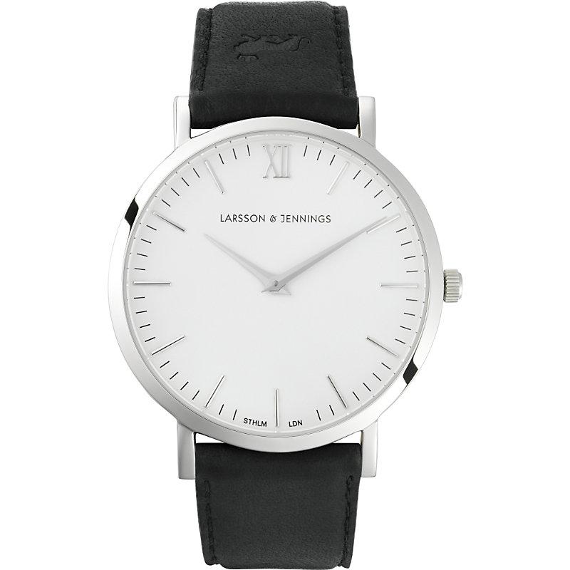LARSSON & JENNINGS | Larsson & Jennings LJ-W-MORKT Lugano Black Leather Watch, Women'S | Goxip