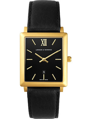 LARSSON & JENNINGS LJ-W-NRS-GB40-S Norse 18ct yellow gold-plated and leather watch