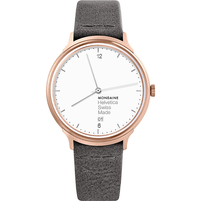 MONDAINE Mh1-L2210-Lh Helvetica No1 Light Leather And Ip Rose-Gold Stainless Steel Watch
