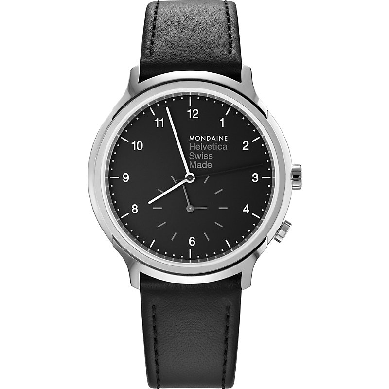 MONDAINE Mh1-R2020-Lb Helvetica No1 Regular Leather And Stainless Steel Watch in Black