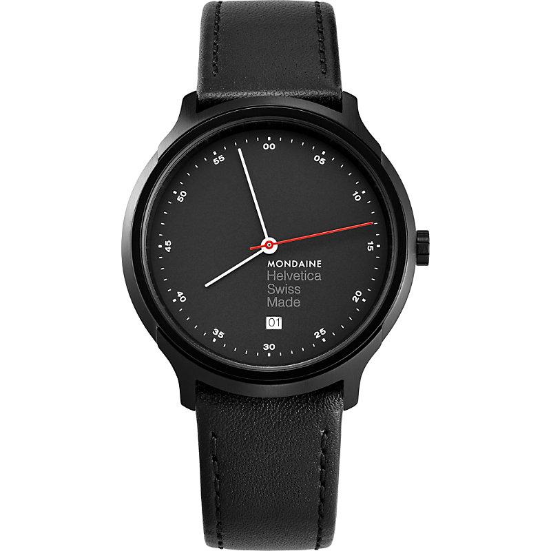 MONDAINE Mh1-R2223-Lb Helvetica Spiekermann Edition Regular Leather And Black Ip Stainless Steel Watch