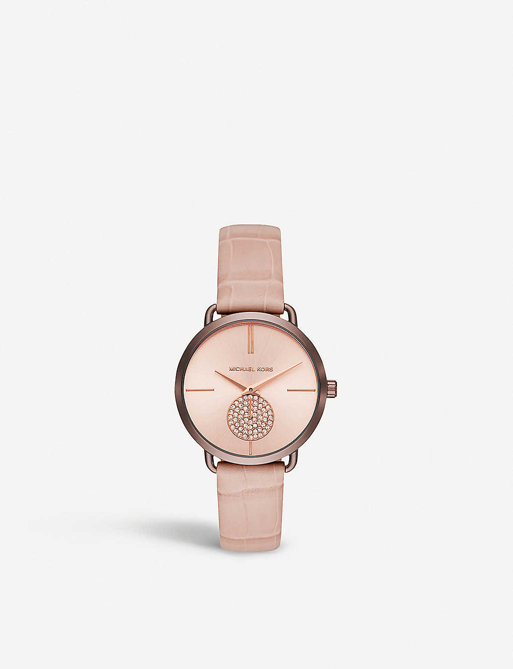 5901a87111 MICHAEL KORS MK2721 Portia rose gold-toned stainless steel and leather watch