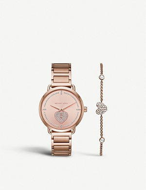 ef88a1943a78 MICHAEL KORS MK3827 Portia stainless steel watch and crystal-embellished  heart chain bracelet gift set