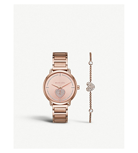 cec5c6587a28 MICHAEL KORS MK3827 Portia stainless steel watch and crystal-embellished  heart chain bracelet gift set