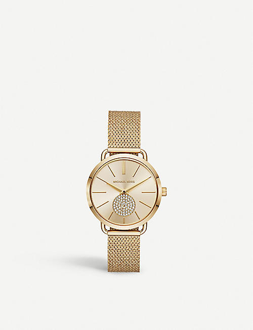 ea1dd18ded0b MICHAEL KORS MK3844 Portia gold-plated stainless steel and crystal watch