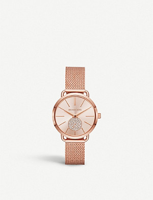 MICHAEL KORS MK3845 Portia rose gold-plated stainless steel and crystal watch