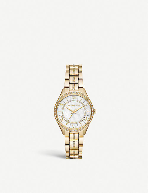 MICHAEL KORS MK3899 Lauryn yellow-gold plated stainless steel and pavé watch