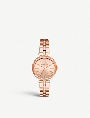 MICHAEL KORS MK3904 Maci rose-gold plated stainless steel and crystal embellished watch