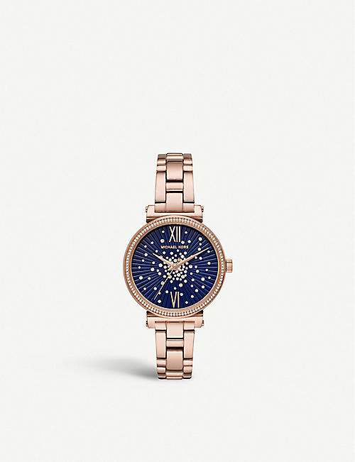 MICHAEL KORS MK3971 Sofie rose gold-tone, stainless steel and crystal watch