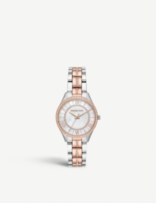 MICHAEL KORS MK3979 Lauryn Silver and rose-gold plated stainless steel and crystal embellished watch