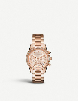 MICHAEL KORS MK6357 Ritz crystal-encrusted stainless steel watch