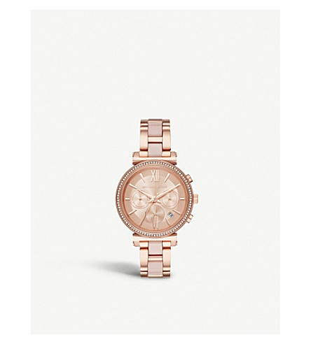 808a3d1cda9 MICHAEL KORS MK6560 Sofie rose gold-plated stainless steel chronograph watch